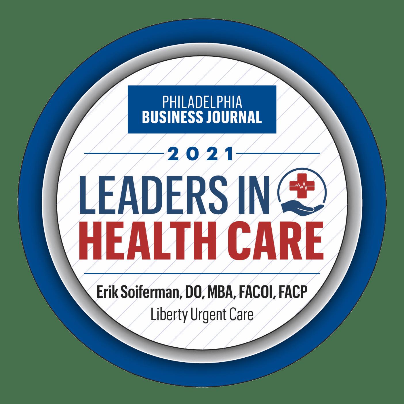 2021 Leaders in Healthcare award